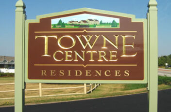 Town Centre carved/goldleaf sign