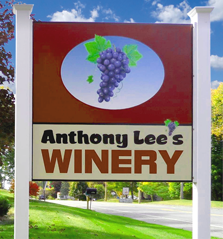 anthony lee's winery sign, Dexter, Maine