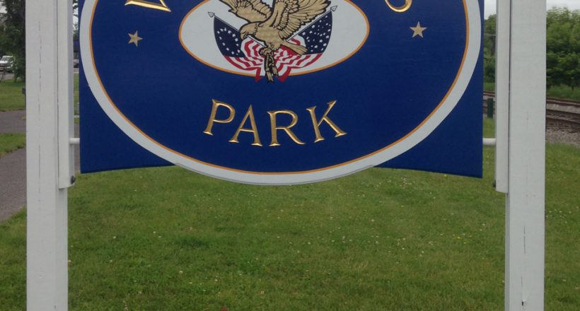 Veterans Park sign, Pittsfield, Maine