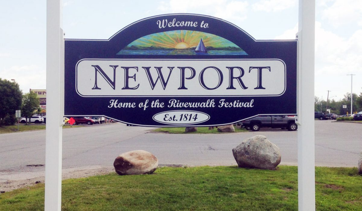 Newport town-line signs are installed