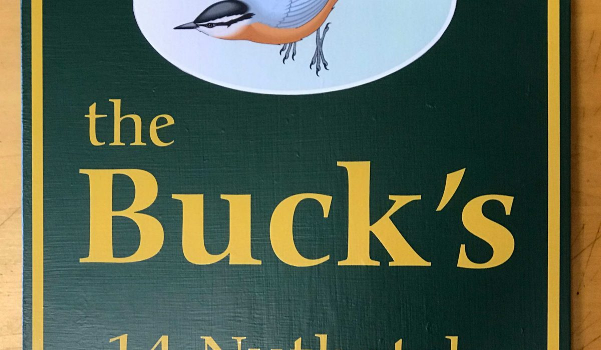 Camp Sign ~ Nuthatch wins top spot over a Loon